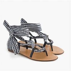J Crew Gingham Fabric Ankle Wrap Sandals Size 7